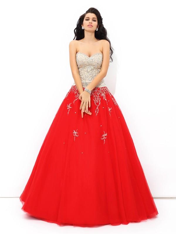 Ball Gown Beading Sweetheart Sleeveless Floor-Length Satin Dresses