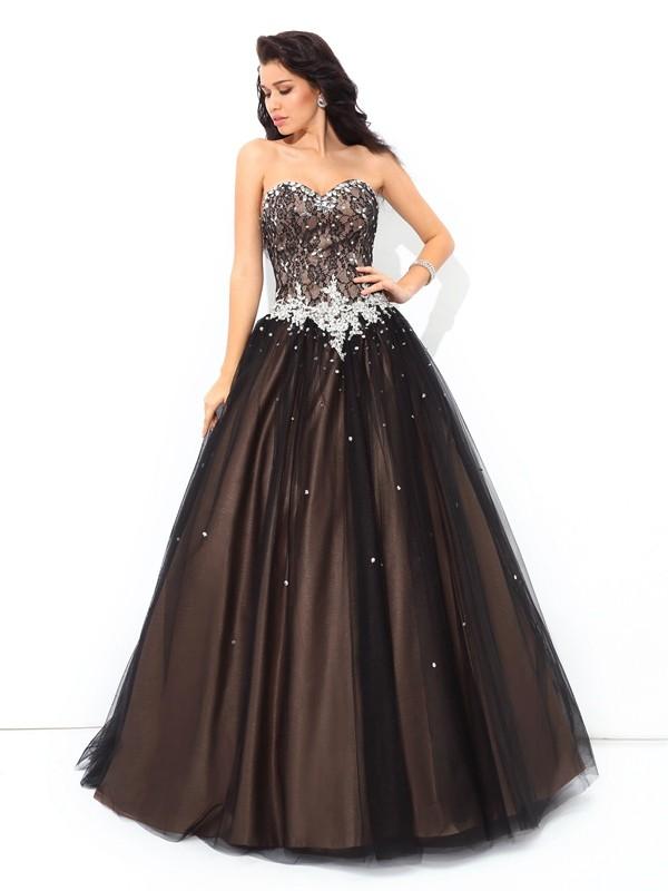 Ball Gown Beading Sweetheart Sleeveless Floor-Length Net Dresses