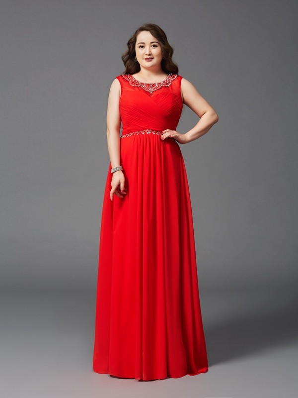 A-Line/Princess Beading Scoop Sleeveless Floor-Length Chiffon Plus Size Dresses