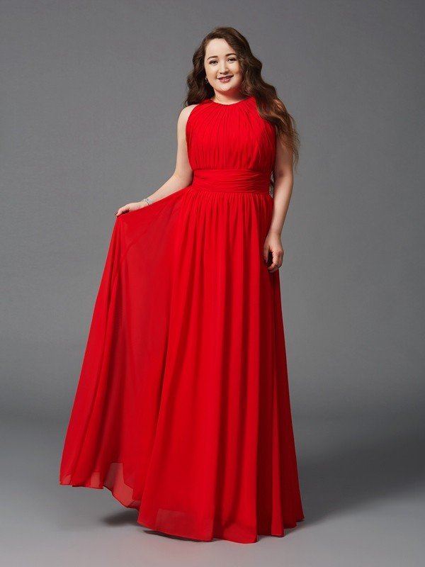 A-Line/Princess Ruched Jewel Sleeveless Floor-Length Chiffon Plus Size Dresses