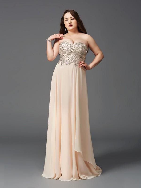 A-Line/Princess Rhinestone Sweetheart Sleeveless Sweep/Brush Train Chiffon Plus Size Dresses