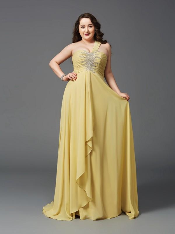 A-Line/Princess Rhinestone One-Shoulder Sleeveless Sweep/Brush Train Chiffon Plus Size Dresses