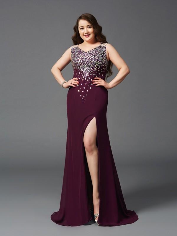 Sheath/Column Rhinestone Straps Sleeveless Sweep/Brush Train Chiffon Plus Size Dresses