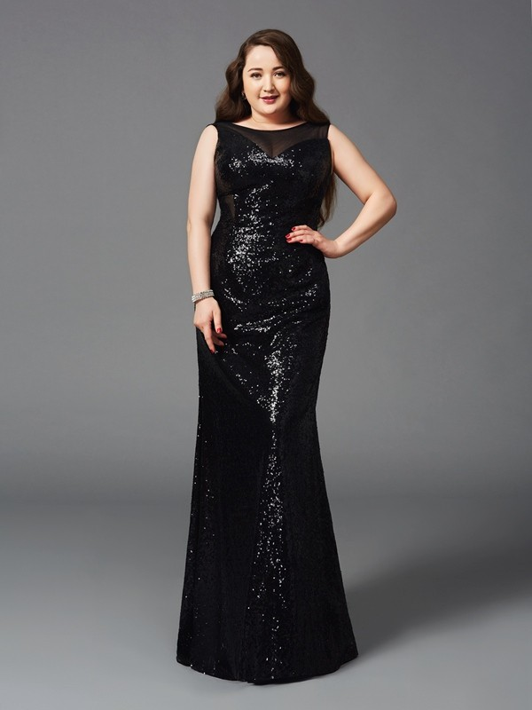 Sheath/Column Scoop Sleeveless Floor-Length Sequins Plus Size Dresses