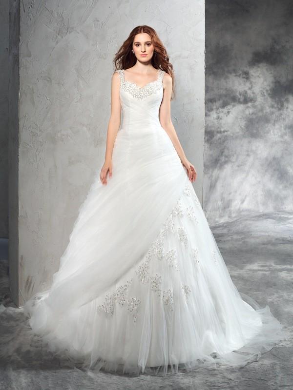 Ball Gown Applique Straps Sleeveless Court Train Net Wedding Dresses