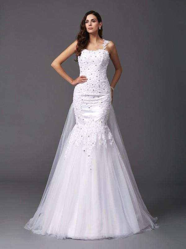 Trumpet/Mermaid Beading Straps Sleeveless Sweep/Brush Train Net Wedding Dresses