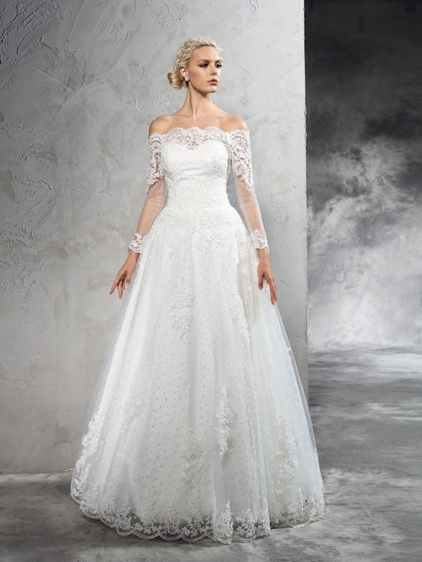 Ball Gown Lace Off-the-Shoulder Long Sleeves Floor-Length Net Wedding Dresses