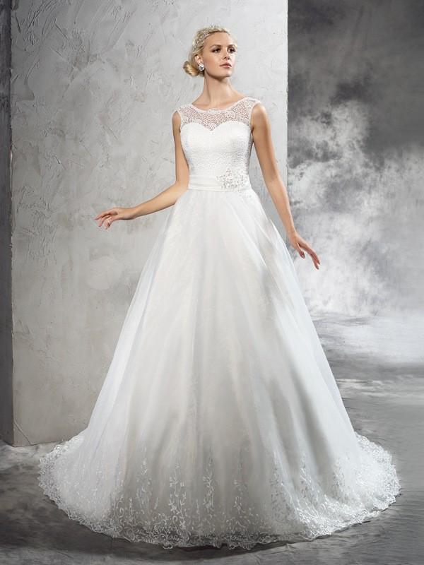 Ball Gown Sash/Ribbon/Belt Sheer Neck Sleeveless Court Train Net Wedding Dresses