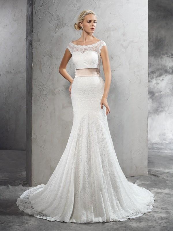 Sheath/Column Sash/Ribbon/Belt Sheer Neck Sleeveless Court Train Lace Wedding Dresses