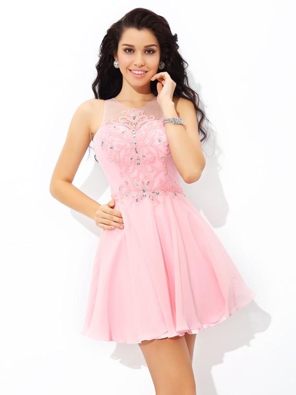 A-Line/Princess Applique Sheer Neck Sleeveless Short/Mini Chiffon Dresses