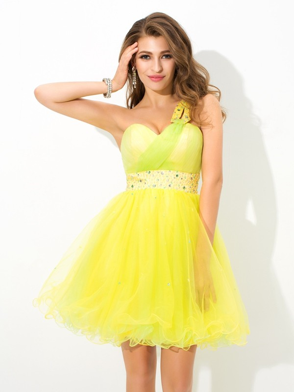 A-Line/Princess Beading One-Shoulder Sleeveless Short/Mini Net Dresses
