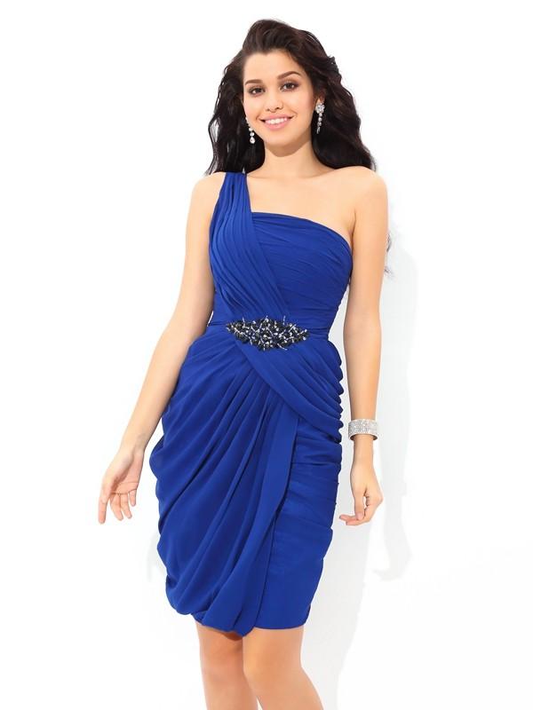 Sheath/Column Pleats One-Shoulder Sleeveless Short/Mini Chiffon Dresses