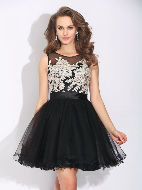 A-Line/Princess Ruffles Scoop Sleeveless Short/Mini Net Dresses