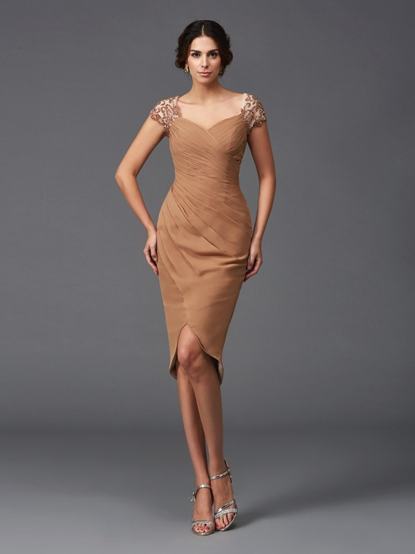 Sheath/Column Applique Sweetheart Short Sleeves Asymmetrical Chiffon Dresses