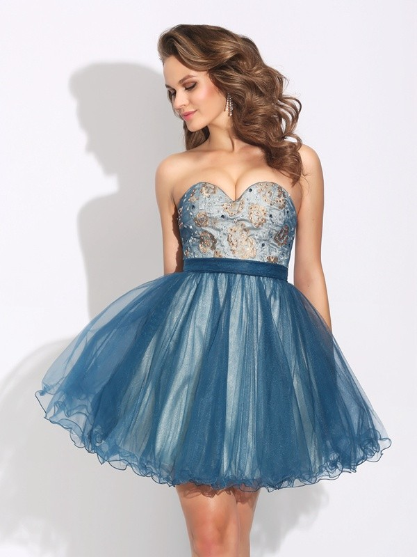 A-Line/Princess Ruffles Sweetheart Sleeveless Short/Mini Net Dresses