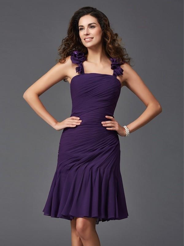 Sheath/Column Ruched Straps Sleeveless Short/Mini Chiffon Dresses