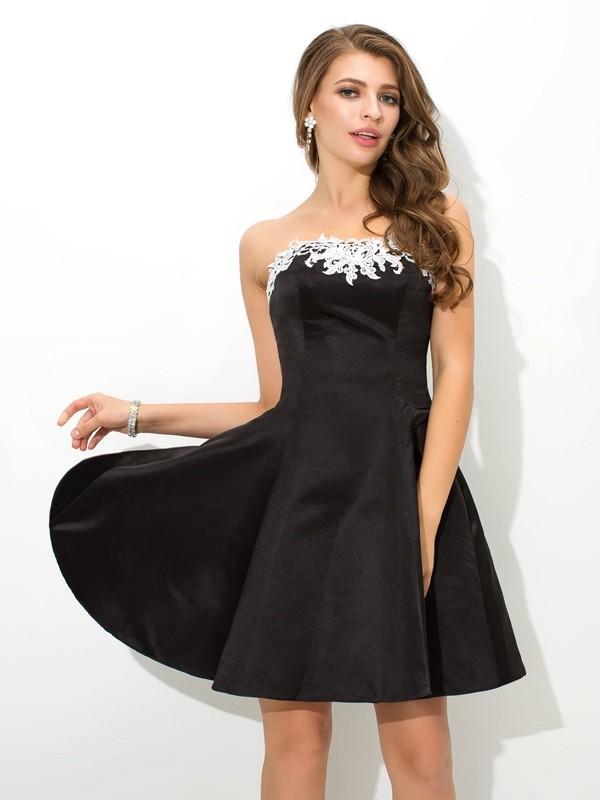 A-Line/Princess Applique Strapless Sleeveless Short/Mini Satin Dresses