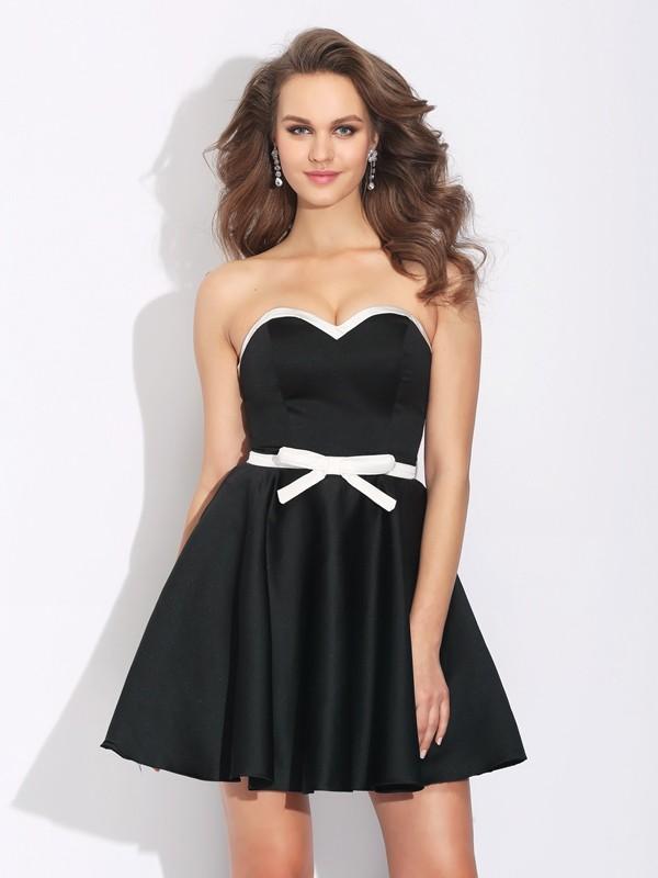 A-Line/Princess Bowknot Sweetheart Sleeveless Short/Mini Satin Dresses