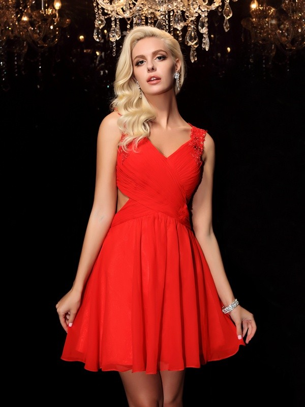 A-Line/Princess Acrylic Jewels Straps Sleeveless Short/Mini Chiffon Dresses