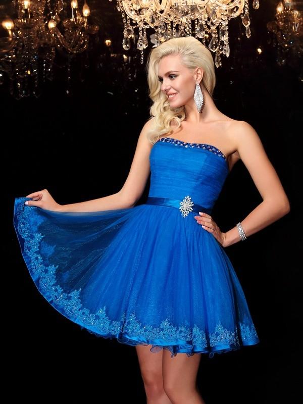 A-Line/Princess Beading Strapless Sleeveless Short/Mini Net Dresses