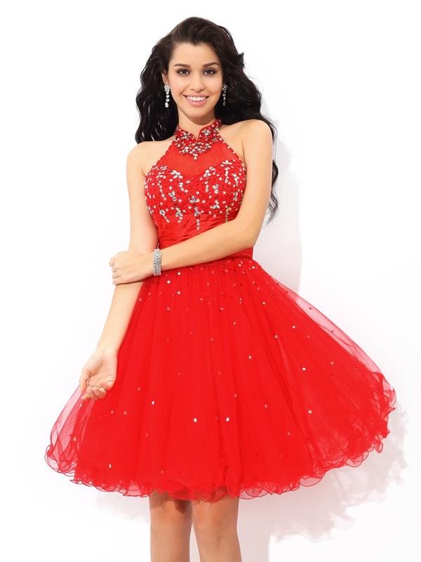 A-Line/Princess Beading High Neck Sleeveless Short/Mini Net Dresses