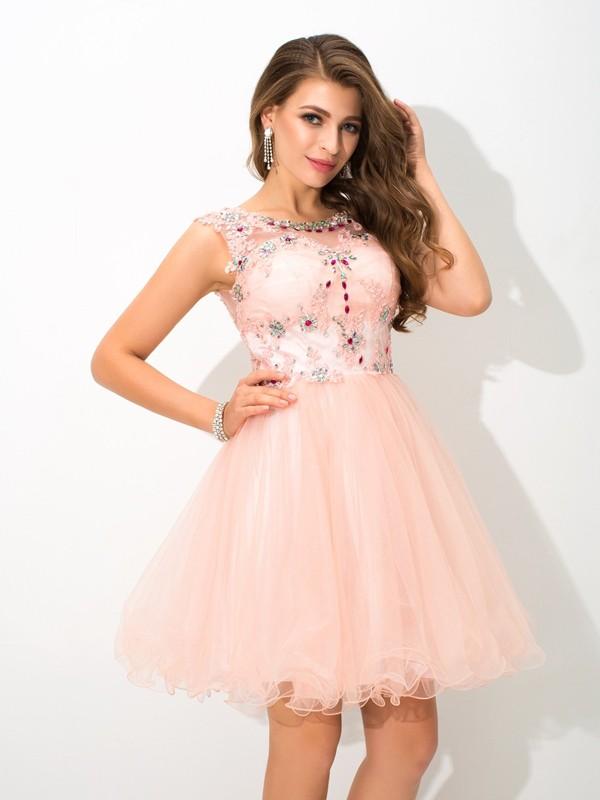 A-Line/Princess Beading Sheer Neck Sleeveless Short/Mini Elastic Woven Satin Dresses