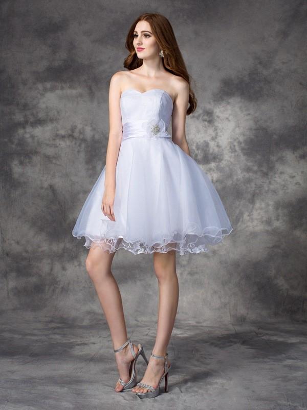 A-Line/Princess Ruffles Sweetheart Sleeveless Short/Mini Organza Dresses