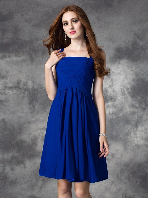 A-Line/Princess Ruffles Square Sleeveless Short/Mini Chiffon Dresses