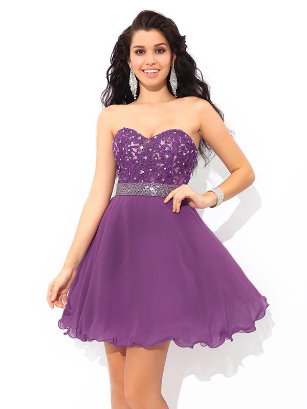 A-Line/Princess Beading Sweetheart Sleeveless Short/Mini Chiffon Dresses