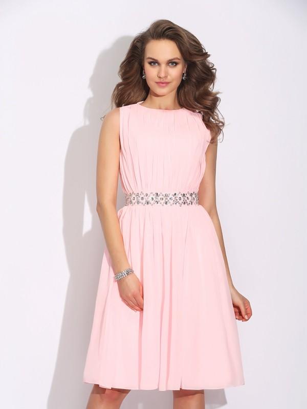A-Line/Princess Ruffles Jewel Sleeveless Knee-Length Chiffon Dresses