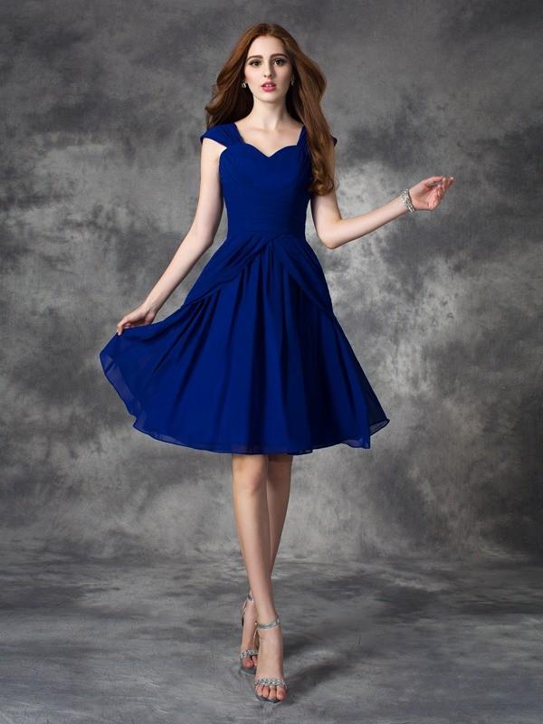 A-Line/Princess Ruffles Straps Sleeveless Short/Mini Chiffon Dresses