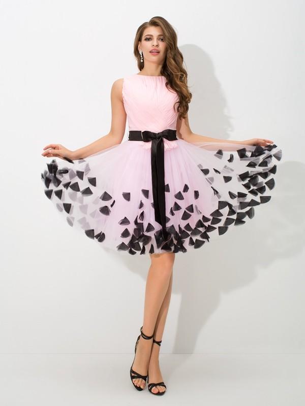 A-Line/Princess Bowknot High Neck Sleeveless Short/Mini Net Dresses