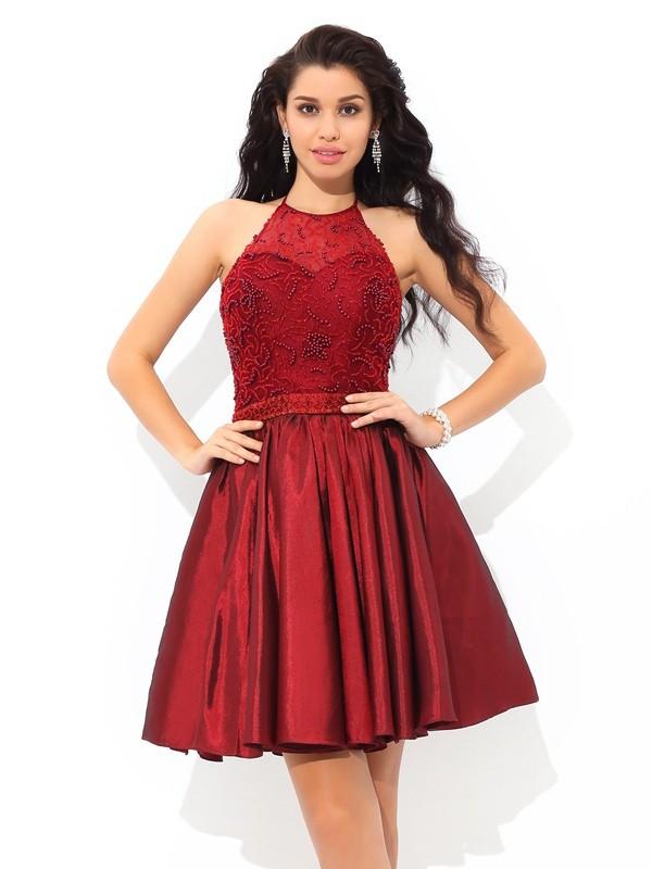A-Line/Princess Beading Halter Sleeveless Short/Mini Taffeta Dresses