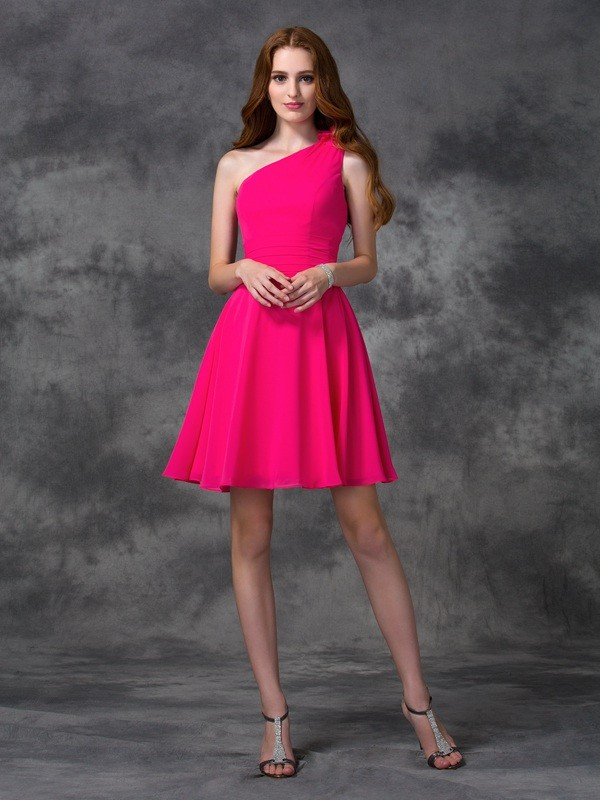 A-Line/Princess Hand-Made Flower One-Shoulder Sleeveless Short/Mini Chiffon Dresses