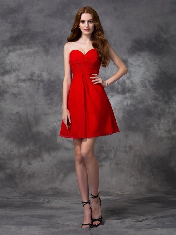 A-Line/Princess Ruched Sweetheart Sleeveless Short/Mini Chiffon Dresses