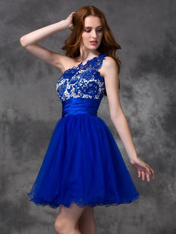 A-Line/Princess Lace One-Shoulder Sleeveless Short/Mini Satin Dresses