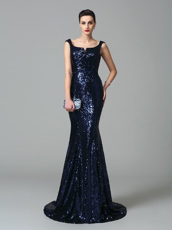 Trumpet/Mermaid Straps Sleeveless Sweep/Brush Train Sequins Dresses