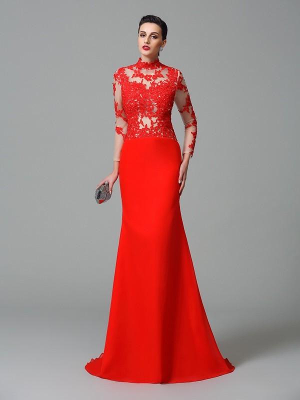 Trumpet/Mermaid Applique High Neck Long Sleeves Sweep/Brush Train Chiffon Dresses