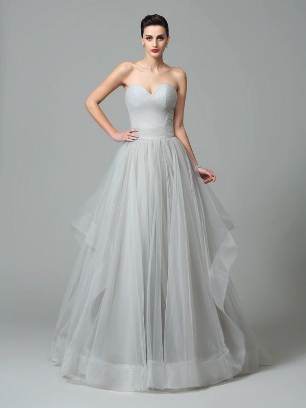 A-Line/Princess Layers Sweetheart Sleeveless Sweep/Brush Train Net Dresses