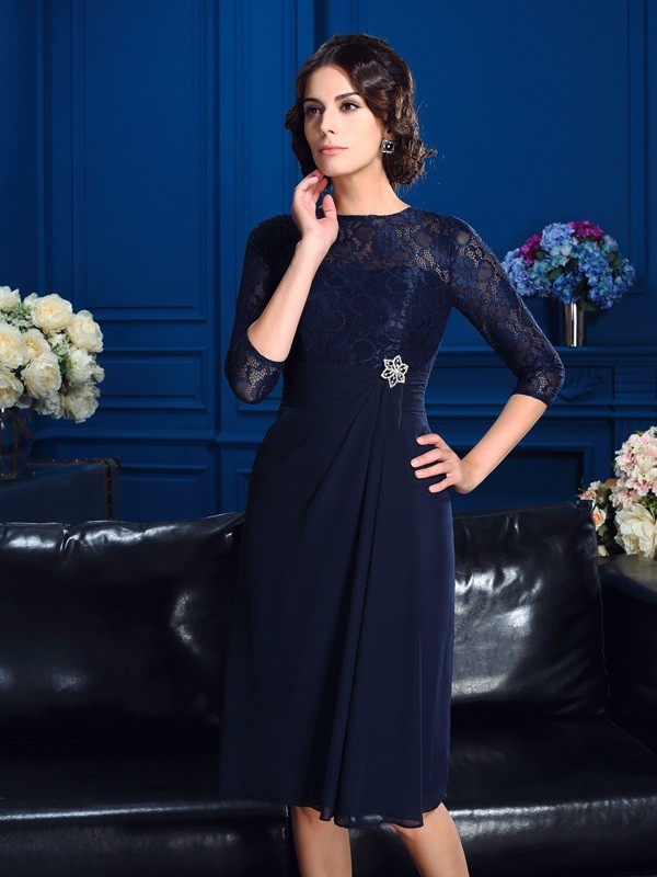 A-Line/Princess Lace Jewel 3/4 Sleeves Knee-Length Chiffon Mother of the Bride Dresses