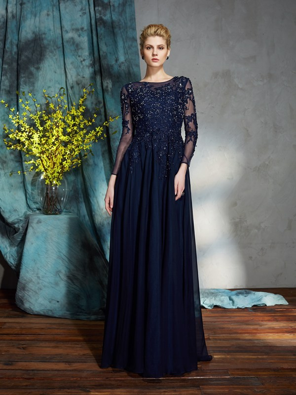 A-Line/Princess Applique Scoop 3/4 Sleeves Floor-Length Chiffon Mother of the Bride Dresses