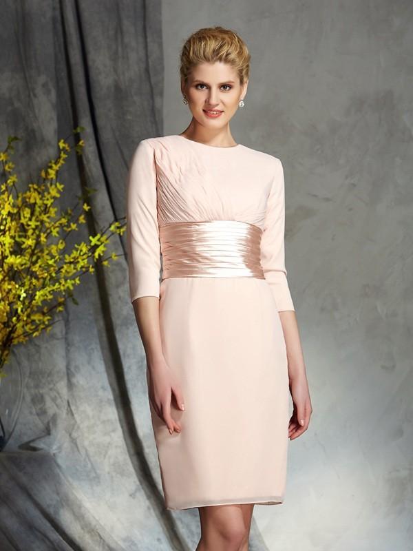 Sheath/Column Scoop 3/4 Sleeves Short/Mini Chiffon Mother of the Bride Dresses