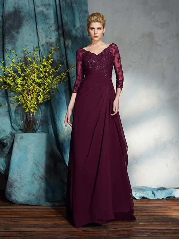 A-Line/Princess Beading V-neck 3/4 Sleeves Floor-Length Chiffon Mother of the Bride Dresses