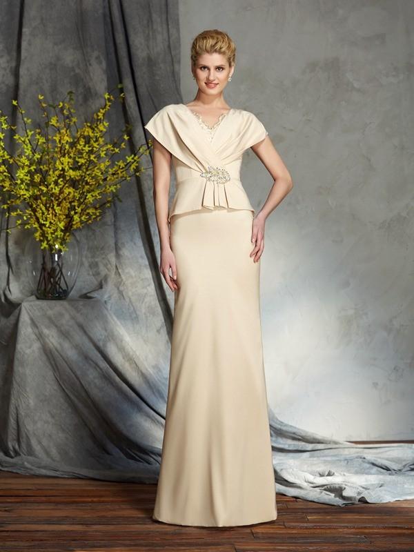 Sheath/Column Beading V-neck Short Sleeves Floor-Length Silk like Satin Mother of the Bride Dresses