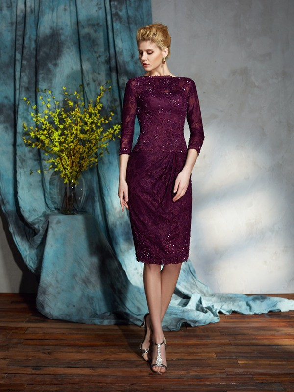 Sheath/Column Lace Bateau 3/4 Sleeves Knee-Length Lace Mother of the Bride Dresses