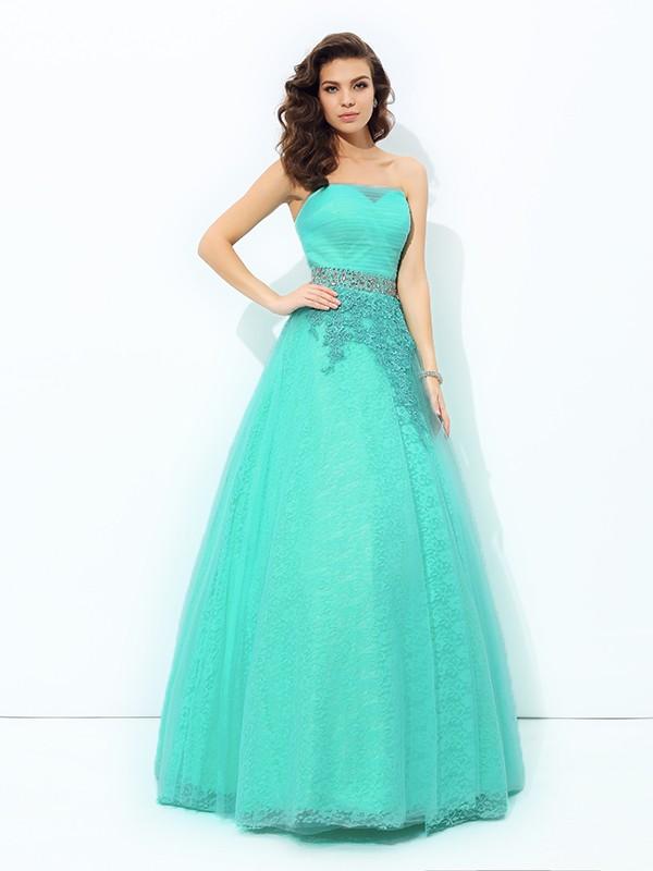A-Line/Princess Beading Strapless Sleeveless Floor-Length Elastic Woven Satin Dresses