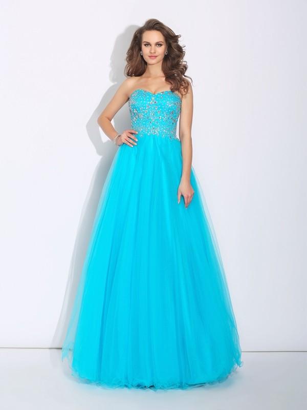 A-Line/Princess Rhinestone Sweetheart Sleeveless Floor-Length Satin Dresses