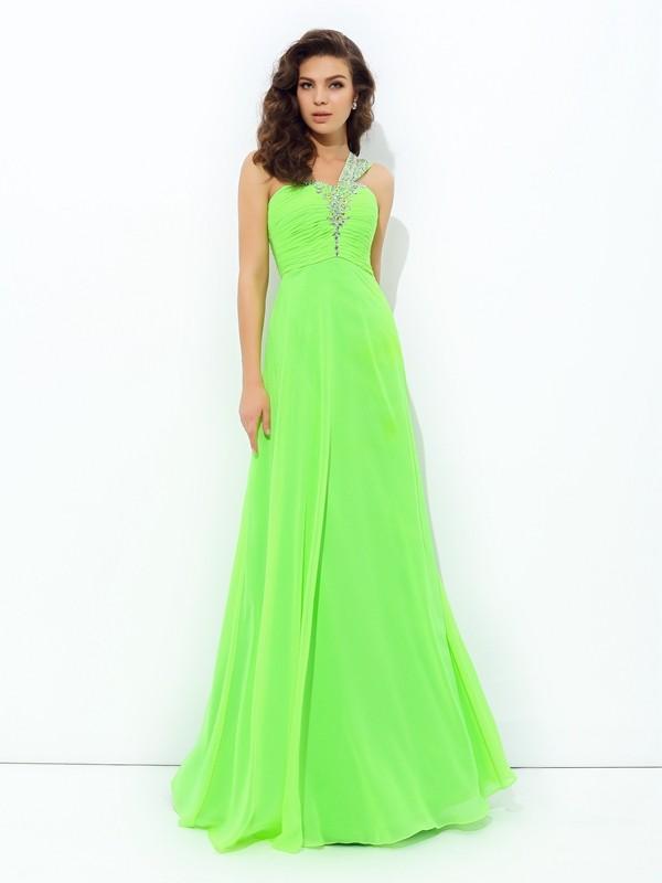 A-Line/Princess Rhinestone One-Shoulder Sleeveless Floor-Length Chiffon Dresses