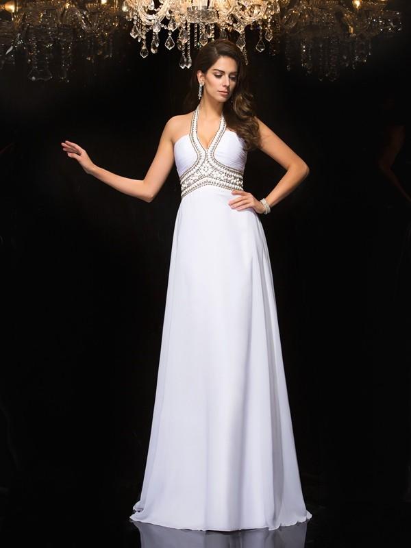 A-Line/Princess Halter Sleeveless Floor-Length Chiffon Dresses
