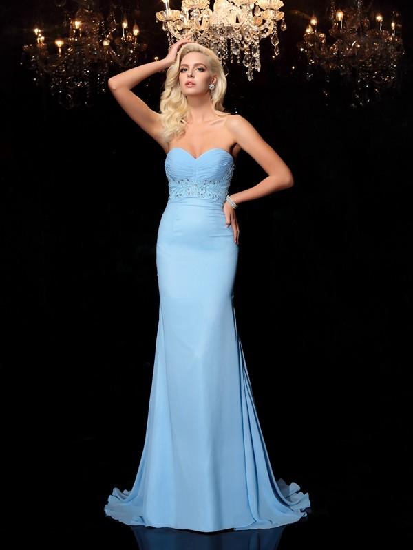 Trumpet/Mermaid Rhinestone Sweetheart Sleeveless Sweep/Brush Train Chiffon Dresses